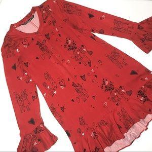 Zara Red Valentine Hearts and Friends Print Dress